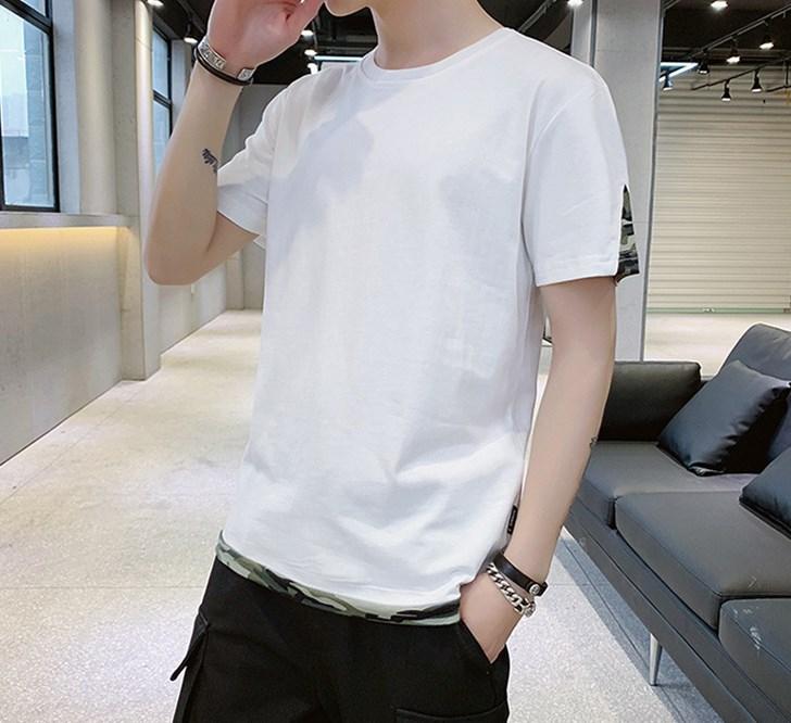 4色選択可★フェイクレイヤード 夏服メンズ Tシャツ 半袖 M-4XL展開