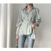 お手頃な価格&高品質! 韓国ファッション 片側オフショルダー イレギュラー シャツ ブラウス 女性