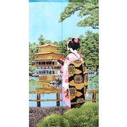のれん 85x150cm「舞妓金閣寺(レース)」【日本製】和風 コスモ 目隠し