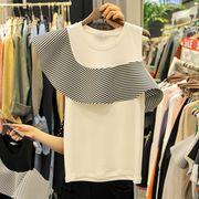 全2色 半袖Tシャツ フリル 切り替え アシンメトリー オフショルダー ストライプ柄 カレッジ風 韓国風