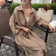 初春 韓国風 中長スタイル ウエスト ひもあり ラペル 七分袖 シングル列ボタン カーデ