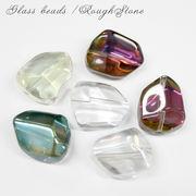 メッキガラス ガラスビーズ 【19.ラフストーン】 【1個売り】【全6色】◆鉱石 宝石 キラキラ