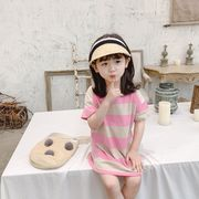 【韓国ファッション】  ワンピース 長いTシャツ 子供服 キッズ 児童 夏 半袖 韓国 ファッション