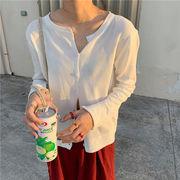 韓国風 何でも似合う 丸襟 ボタン デザイン ニッティング ボトムシャツ 薄いスタイル