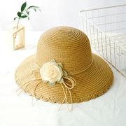 草編み帽子 シンプル サンバイザー  麦わら帽子 ビーチハット UV対策 日焼け止め フラワーハット