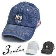 ▼MAGGIO▼【COOL&CUTE】変幻自在に魅せる♪ NYC刺繍ロゴ入りデニムキャップ(帽子)