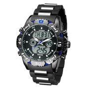 アナデジ HPFS1510-BKBL アナログ&デジタル クロノグラフ 防水 ダイバーズウォッチ風メンズ腕時計