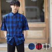 【2019春夏新作】 メンズ ビッグシルエット コットン ブロード 半袖 チェック シャツ
