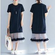【春夏新作】ファッションワンピース♪ブラック/グレー2色展開◆
