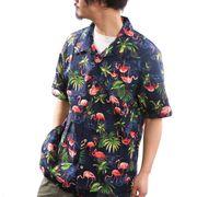 【2019春夏新作】 アロハシャツ メンズ 大きいサイズ オープンカラー 開襟 ボタニカル 綿 裏使い 3L 4L 5L