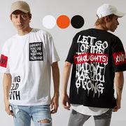 【2019春夏新作】メンズ デコレーション 貼付け プリント BIG シルエット 半袖 Tシャツ