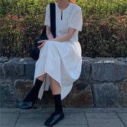 満足度99%  夏 ファッション ストリートスタイル  シンプル 個性  Vネック  カジュアル ワンピース