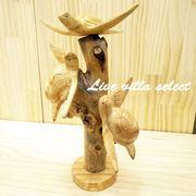 木彫り3匹のウミガメ(ホヌ)
