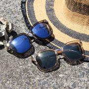 クリアフレームサングラス 眼鏡 メガネ ミラーレンズ UV対策 小物 服飾雑貨