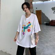 春夏新商730776  大きいサイズ 韓国 レディース ファッション Tシャツ ワンピース  LL-4L