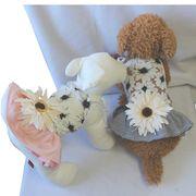 ※アウトレット※花柄レースとボーダーのワンピース☆(S-XL)ドッグウェア 犬の服