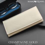 BEAMZSQUARE シャンパンゴールド牛革製メンズ長財布 BZSQ-703CG