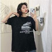 春夏新商品730795  大きいサイズ 韓国 レディース ファッション Tシャツ ワンピース  LL-4L