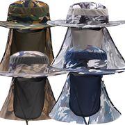 帽子 日よけハット アドベンチャーハット サファリハット フェイスカバー ネックカバー メンズ UV対策