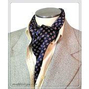 エレガントな袋縫いプリント柄入りメンズ用100%シルクスカーフ 10138b