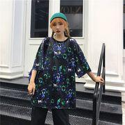 春夏新商品730798  大きいサイズ 韓国 レディース ファッション Tシャツ ワンピース  LL-4L