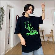 春夏新商品730799  大きいサイズ 韓国 レディース ファッション Tシャツ ワンピース  LL-4L