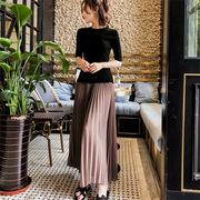 韓国ファッション  CHIC気質  夏 新着 女性 レトロ 学生 スカート 2点セット