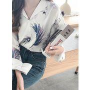 フェザーシャツ レディース 韓国 オルチャン かわいい シャツ 羽柄 ゆるっと カジュアル
