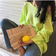 ビビットカラーロゴロングTシャツ レディース 韓国 オルチャン かわいい おしゃれ 透け感
