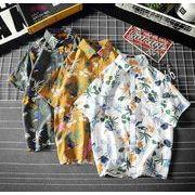 メンズ新作ワイシャツ 半袖トップス 花柄 ゆったり カジュアル ホワイト/イエロー/グリーン3色
