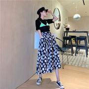 自主撮影  シンプル 夏 ファッション スリム デジタル ポルカドット スカート プリント ロングスカート