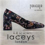 【イギリスインポート◆Lacey's London】フラワープリント チャンキーヒールパンプス