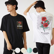 【2019春夏新作】メンズ 薔薇 プリント クリアシート 貼付け BIG 半袖 Tシャツ