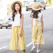 ベスト キッズ tシャツ 女の子 ズボン セット上下2点 大きいサイズ ストライプ 韓国子供服 夏服 セール