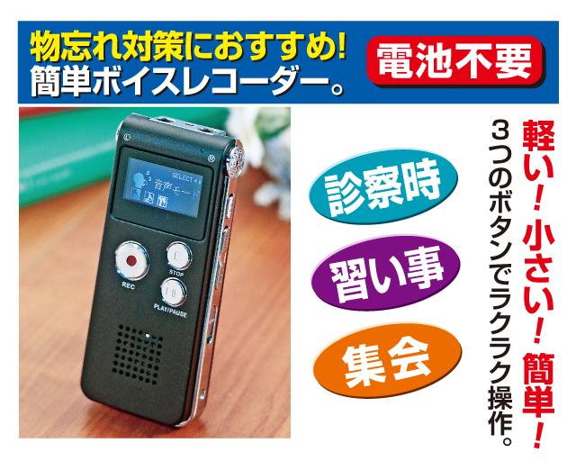 押すだけ 簡単 録音 小型 デジタル 録音機 ICレコーダー