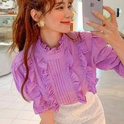 新作 韓国ファッション可愛 気質 レディーズ 合わせやすい カジュアル 無地 五分袖 ブラウス 女 シャツ