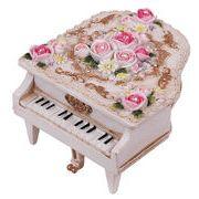 【 ミニピアノ型オルゴール (ホワイト) 】  ♪ありがとう