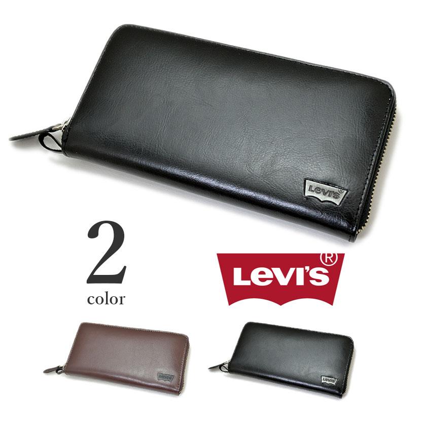 【全2色】 Levis リーバイス ラウンドファスナー ウォレット 長財布 リアルレザー メンズ レディース