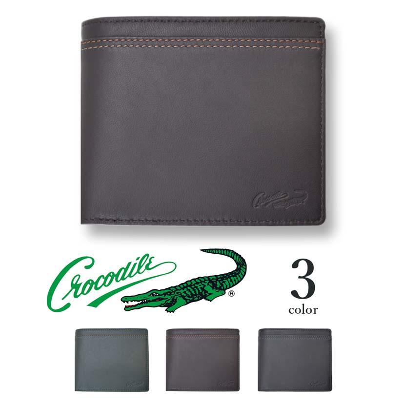 【全3色】 CROCODILE クロコダイル ウォレット 二つ折り お札入れ 財布 リアルレザー