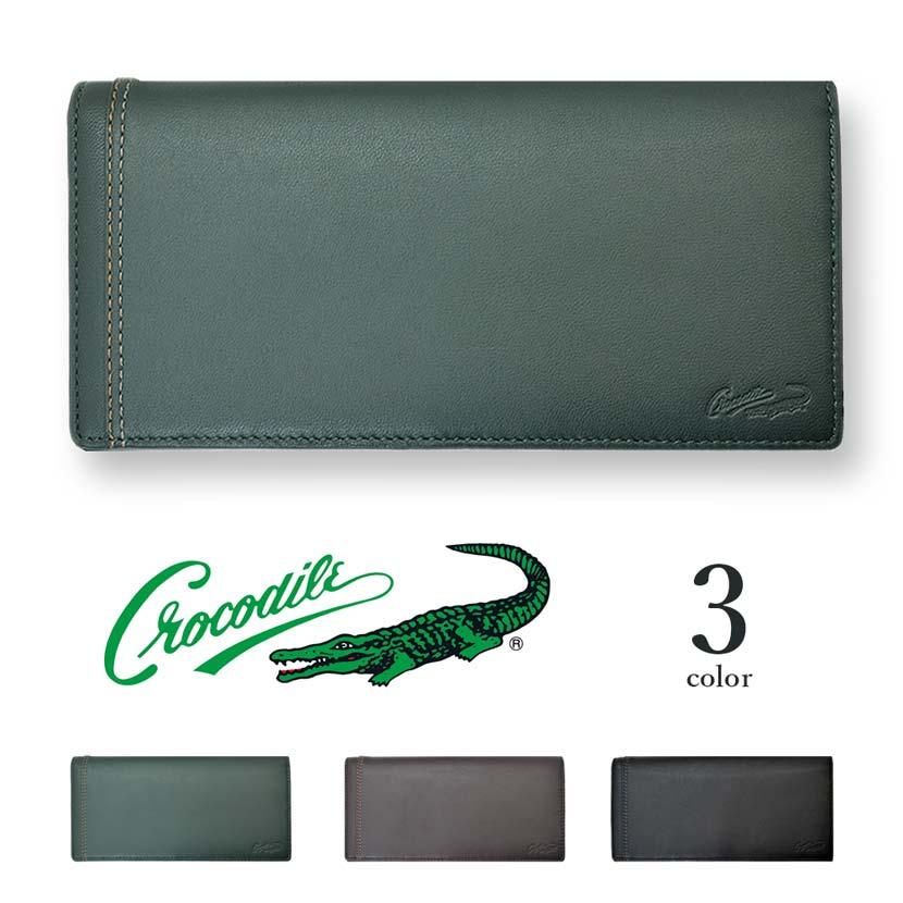 【全3色】 CROCODILE クロコダイル ロングウォレット 二つ折り 長財布 リアルレザー