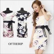 オフショルケープ花柄ドレス