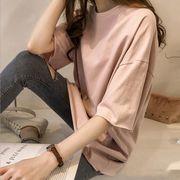 Tシャツ 半袖 INS 無地 純色 上着 トップス  韓国ファッション
