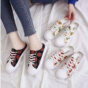 新作サンダル パンプス シューズ 靴 イチゴ キャンバス 韓国 カジュアル フラット