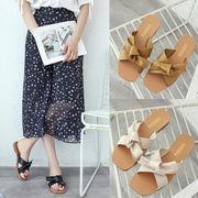 新作サンダル シューズ 靴 交差 リボン 韓国 ファッション カジュアル フラット