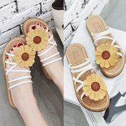 新作サンダル シューズ 靴 スリッパ ひまわり 花柄 韓国 ファッション カジュアル