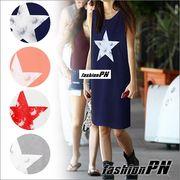 星柄 ビンテージプリント ワンピース レディース 大きいサイズ ドレス 夏服 秋服 カジュアル