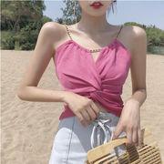 夏 新しいデザイン 韓国風 風 セクシー 短いスタイル チェーン ねじる 結び キャミソ