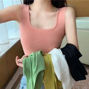 夏 新しいデザイン 単一色 着やせ アウトドア キャミソール 女 韓国風 シンプル セク