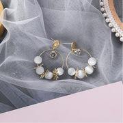 ピアス 花 スウィート リンク デザイン 少女 韓国 925銀 ファッション