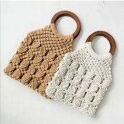 カゴバッグ ハンドバッグ トートバッグ 手持ち 手作り 綿 ビーチ 透かし編み